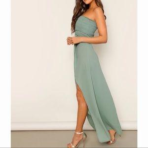 Dresses & Skirts - Strapless High Slit Empire Maxi Dress Green